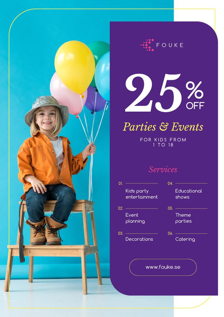 Party Organization Service Girl with Balloons | Poster Template — Maak een ontwerp