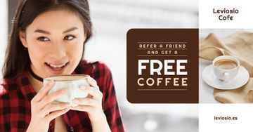Cafe Promotion Woman with Cup of Coffee
