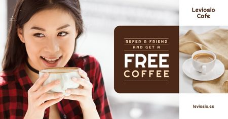 Cafe Promotion Woman with Cup of Coffee Facebook ADデザインテンプレート