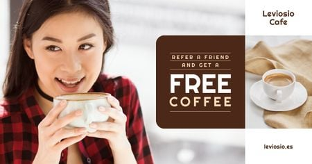 Template di design Cafe Promotion Woman with Cup of Coffee Facebook AD