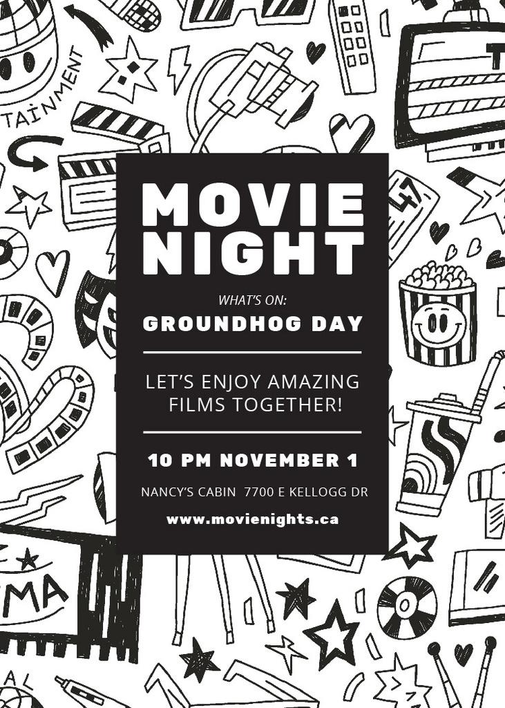 Movie Night Event Arts Icons Pattern — Crea un design