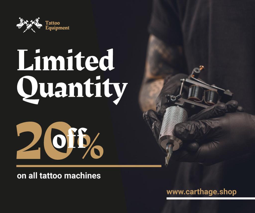 Tattoo Equipment offer Artist holding Machine — Modelo de projeto