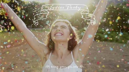 Plantilla de diseño de Happy girl under falling confetti Full HD video