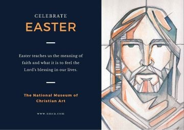 Easter Day Invitation Christ Portrait