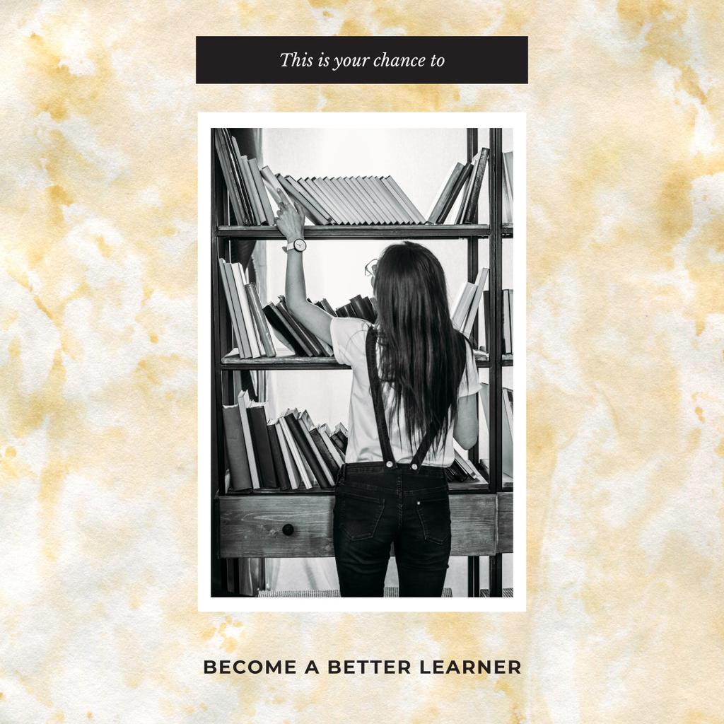 Woman choosing Book on Shelf Instagram AD – шаблон для дизайна