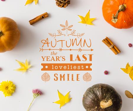 Plantilla de diseño de Autumn pumpkins and leaves Facebook