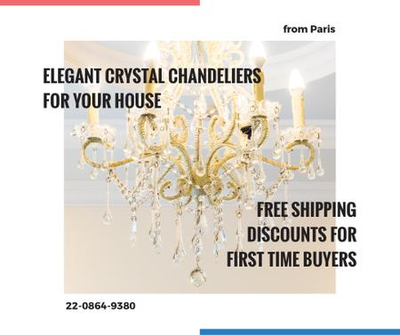 Ontwerpsjabloon van Facebook van Elegant crystal Chandelier offer