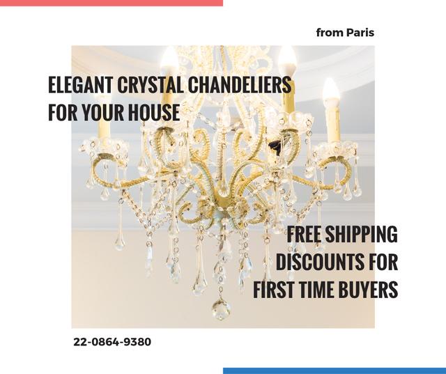 Elegant crystal Chandelier offer Facebook Modelo de Design