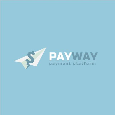 Payment Platform with Ad  Dollar on Paper Plane Logoデザインテンプレート