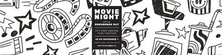 Ontwerpsjabloon van Twitter van Movie night event Announcement