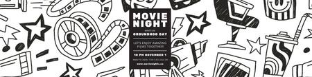 Movie night event Announcement Twitter Modelo de Design