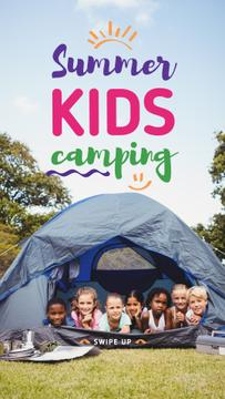 Summer Camp Invitation with Kids in Tent for Story