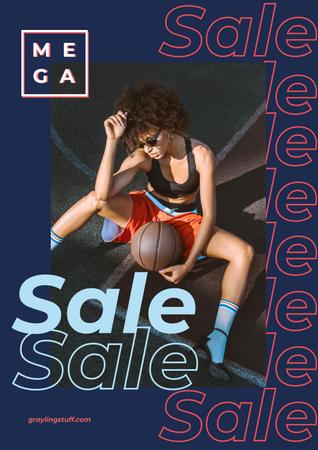 Woman holding basketball ball Poster Modelo de Design