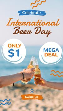 Beer Day Sale People Toasting Bottles at the Beach | Stories Template