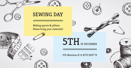 Sewing day event on Tools pattern Facebook AD Modelo de Design