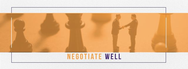 Business people shaking hands on chess board Facebook cover Design Template