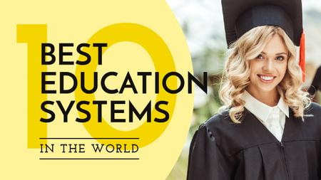 Education Ratings Girl in Graduation Hat Youtube Thumbnail Design Template