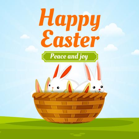 Plantilla de diseño de Easter bunnies in basket Animated Post
