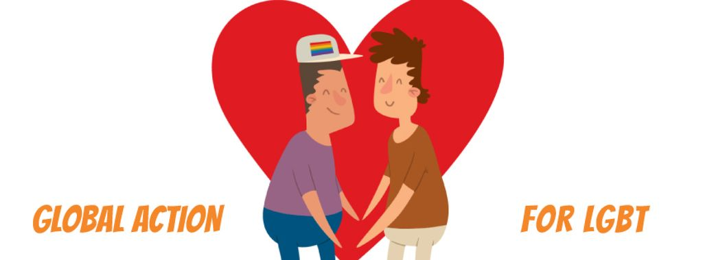 LGBT Lovers on Rainbow Heart — Créer un visuel