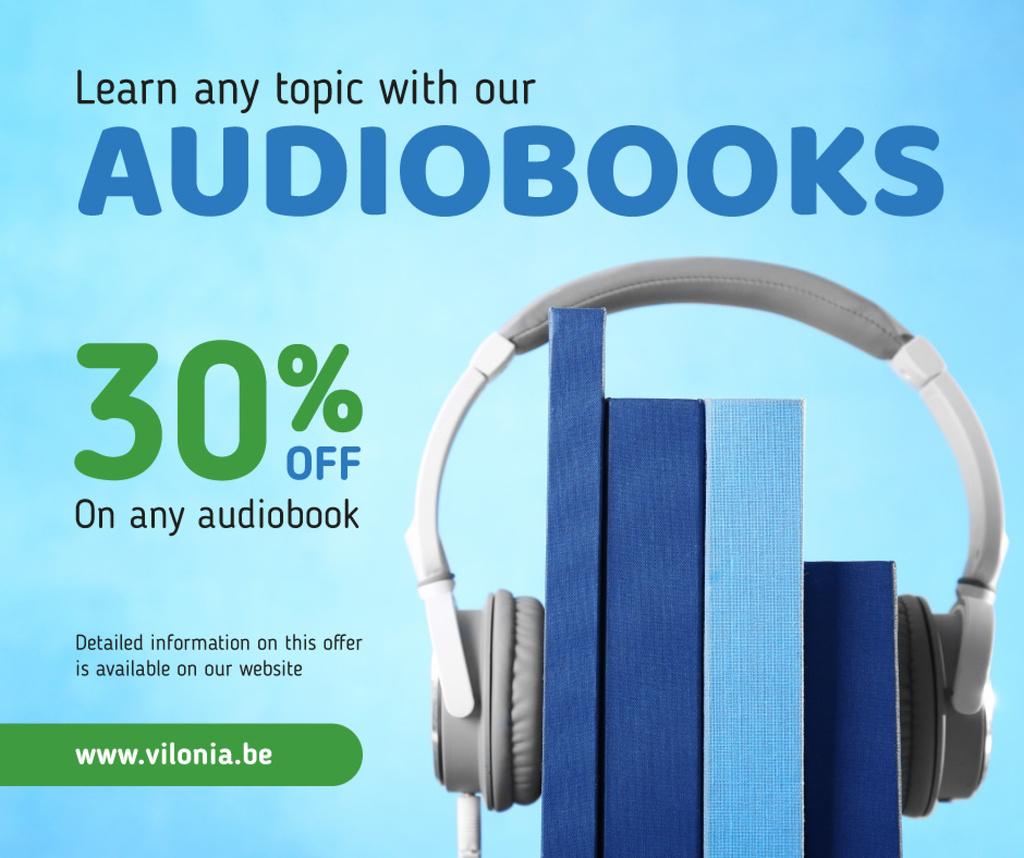 Audio books Offer Headphones on Stack of Books in Blue | Facebook Post Template — Crea un design