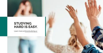 Studying Quote Students Rising Their Hands | Facebook Ad Template