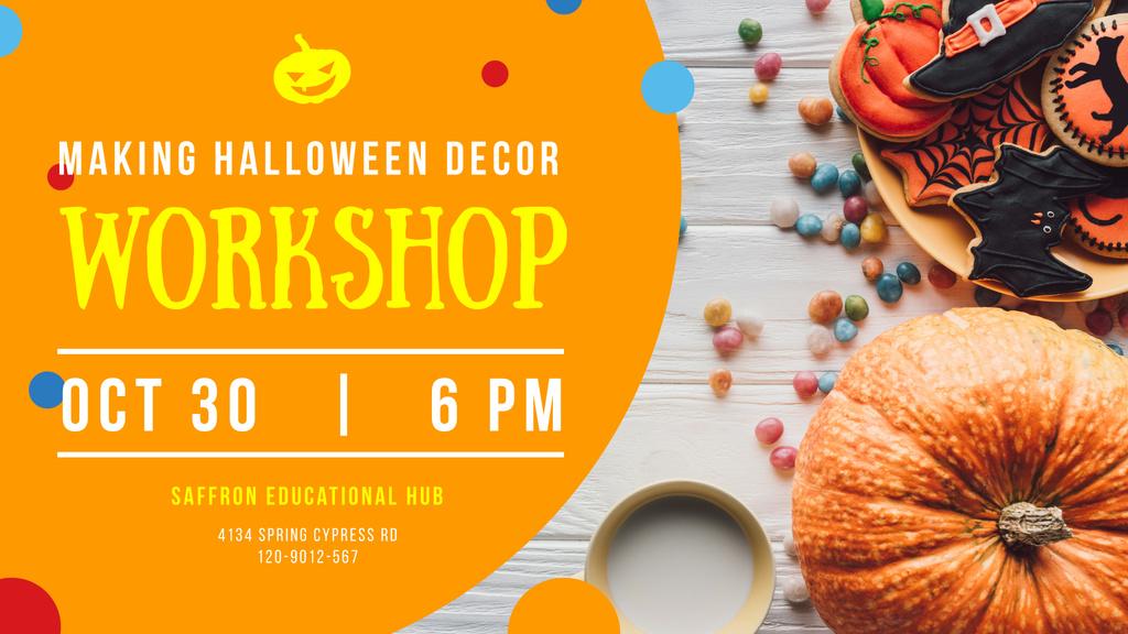 Halloween Decor Workshop Cookies and Pumpkin | Facebook Event Cover Template — Create a Design