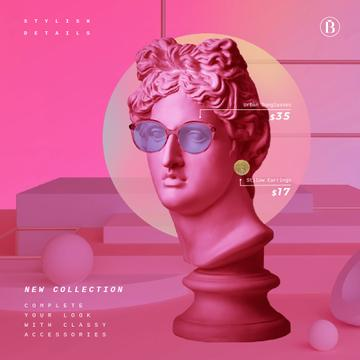 Sunglasses Ad with Sculpture in Pink Eyewear