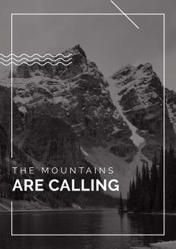 mountains are calling, black and white travel background