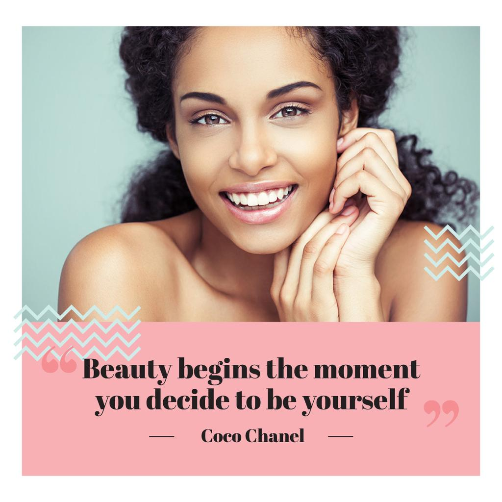 Beautiful young woman with inspirational quote of Coco Chanel — Maak een ontwerp