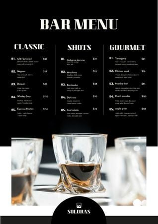 Plantilla de diseño de Alcoholic Drinks on Bar Menu