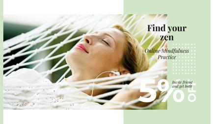 Designvorlage Skincare Ad with Woman Resting in Hammock für FB event cover