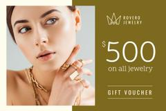 Jewelry Offer with Woman in Golden Rings