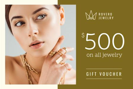 Jewelry Offer with Woman in Golden Rings Gift Certificate Modelo de Design