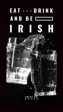 Glasses with splash of Beer on St.Patricks Day