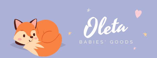 Sleepy red fox for babies' shop Facebook Video cover – шаблон для дизайну