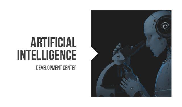 Robot looking into microscope Business card – шаблон для дизайна