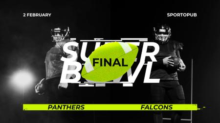 Super Bowl Match Announcement Players in Uniform Full HD video Modelo de Design