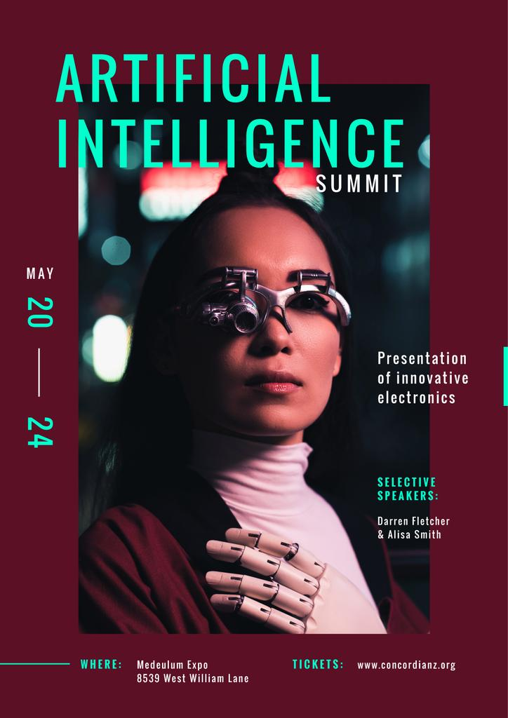 Technological summit Annoucement with Woman in innovational glasses — Create a Design