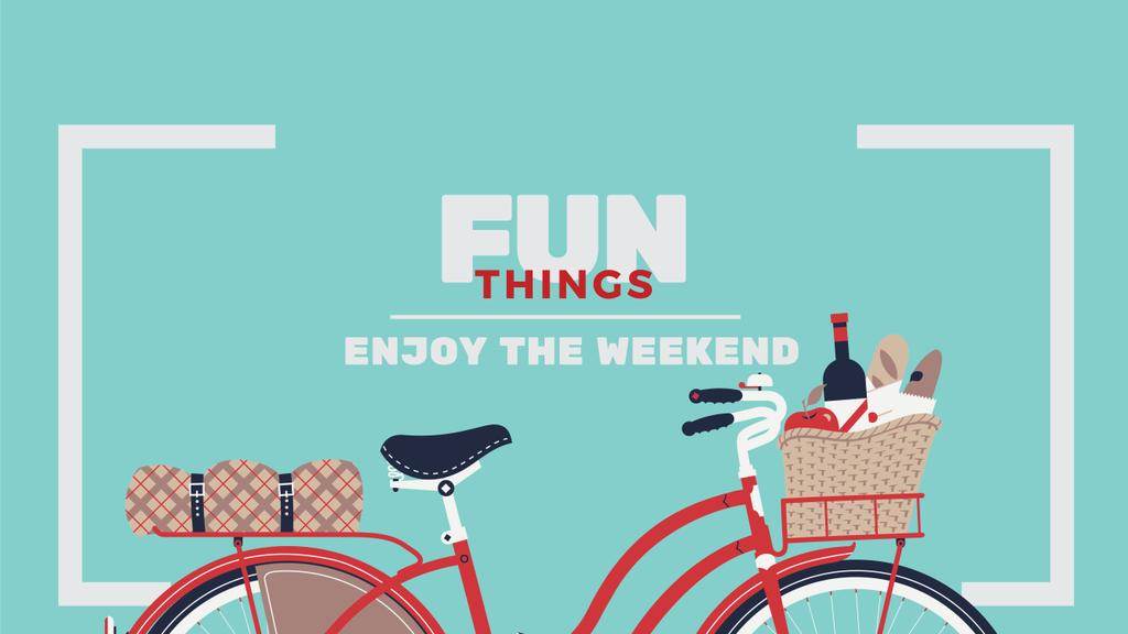 Weekend Ideas Red Bicycle with Food | Youtube Channel Art — Створити дизайн