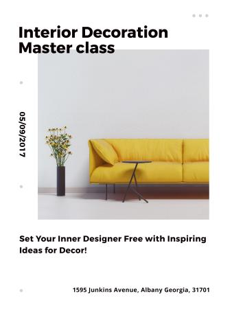 Plantilla de diseño de Interior decoration masterclass with Sofa in yellow Poster US