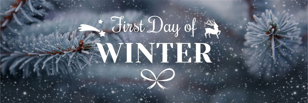 First day of winter lettering with frozen fir tree branch — Design Template