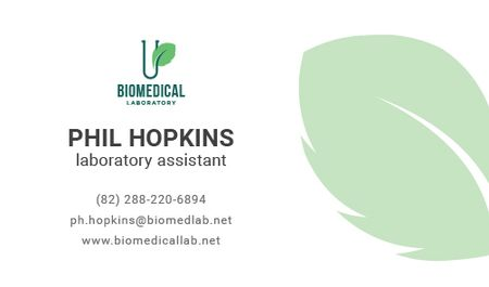 Plantilla de diseño de Laboratory Assistant Services Offer with green leaf Business card