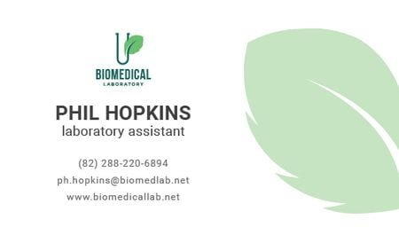 Laboratory Assistant Services Offer with green leaf Business card Modelo de Design