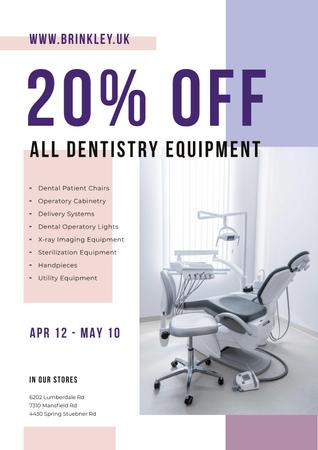 Plantilla de diseño de Dentistry Equipment Sale with Dentist Office View Poster