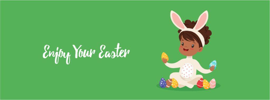 Easter Greeting Kid in Bunny Costume | Facebook Video Cover Template — Crea un design