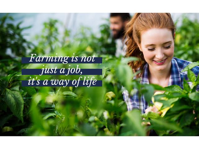 Farmers working in greenhouse Presentation – шаблон для дизайну