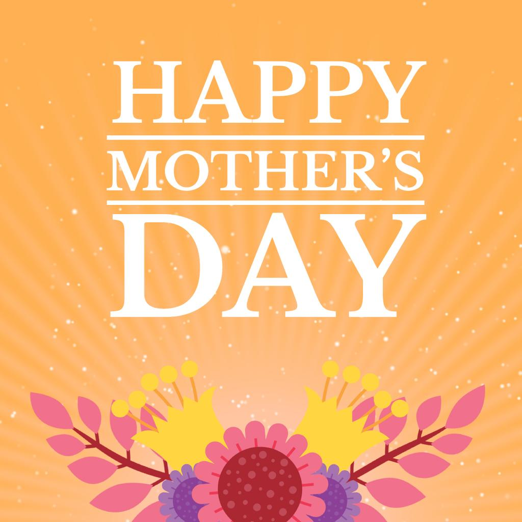 Mothers Day Greeting with Blooming Bright Flowers — Create a Design