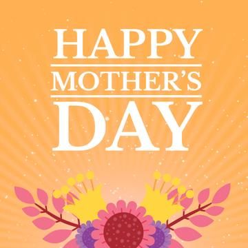 Mothers Day Greeting with Blooming Bright Flowers