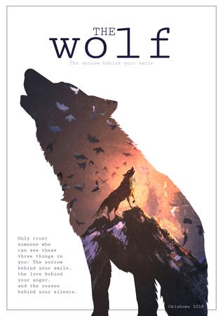Motivational quote with Wolf silhouette Poster Tasarım Şablonu
