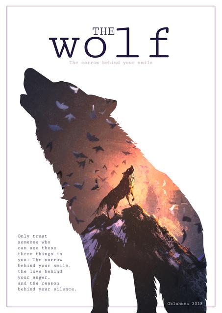 Designvorlage Motivational quote with Wolf silhouette für Poster